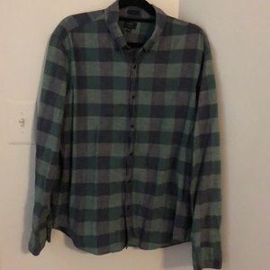J Crew Homespun Green Plaid Button Down Slim Fit